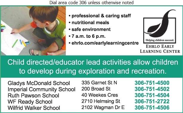 Ehrlo Early Learning Centre & School Age Program - Day Care Centres & Nurseries Digital Ad