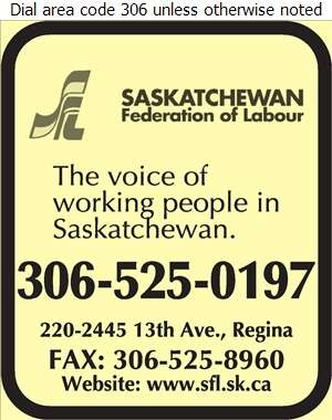 Saskatchewan Federation Of Labour - Labour Organizations Digital Ad