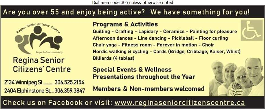 Regina Senior Citizens Centre Inc (www.reginaseniorcitizenscentre.ca) - Recreation Centers Digital Ad