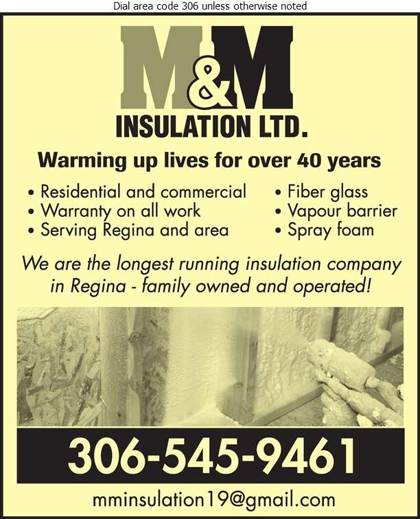 M & M Insulation Ltd - Insulation Contractors Cold & Heat Digital Ad