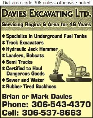 Brian Davies Excavating - Excavating Contractors Digital Ad