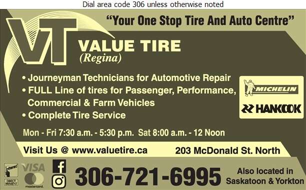 Value Tire (Regina) Ltd - Auto Repairing Digital Ad