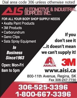 Automotive & Industrial Supplies Inc - Auto Body Shop Equipment & Supplies Digital Ad