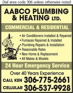 Aabco Plumbing & Heating Ltd - Plumbing Contractors Digital Ad