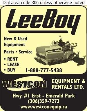 Westcon Equipment & Rentals Ltd - Contractors Equipment Supplies & Service Digital Ad