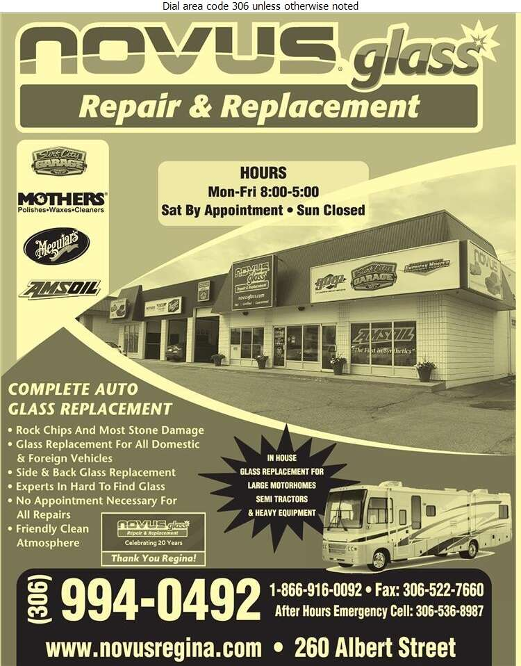 Novus Glass Repair & Replacement - Glass Auto, Float, Plate, Window Etc Digital Ad