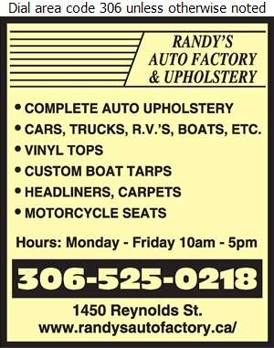 Randy's Auto Factory Ltd - Upholsterers Digital Ad