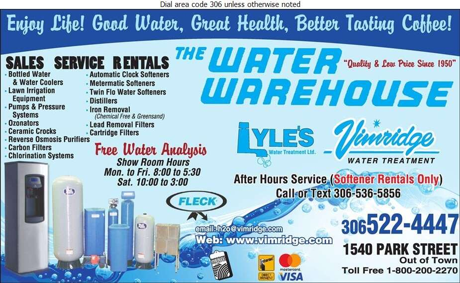 Water Warehouse - Water Softening Equipment Service & Supplies Digital Ad
