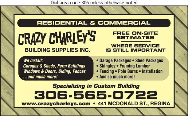 Crazy Charley's Building Supplies Inc - Lumber Retail Digital Ad