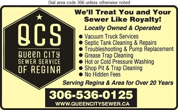 Queen City Sewer Service of Regina - Septic Tanks Sales & Service Digital Ad