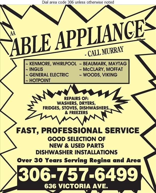 A A Able Appliances - Appliances Major Sales, Service & Parts Digital Ad