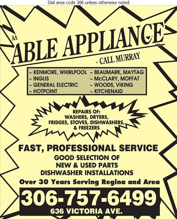 A A Able Appliances - Appliances Major Sales, Service & Parts Digital Ad