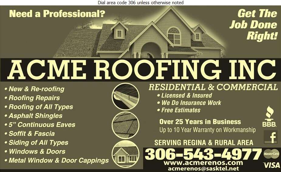 Acme Reno's Inc - Roofing Contractors Digital Ad