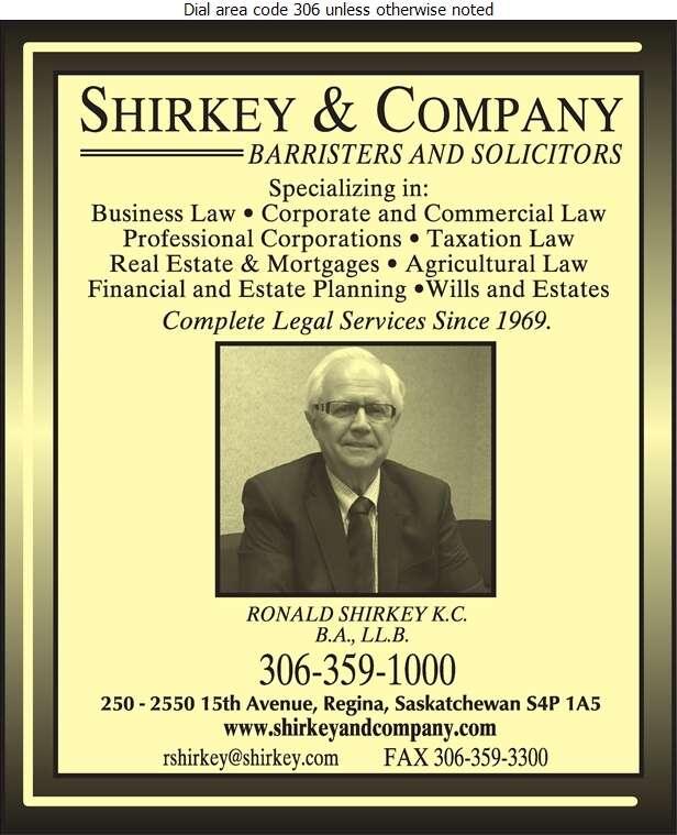 Shirkey & Company (Ronald Shirkey QC) - Lawyers Digital Ad