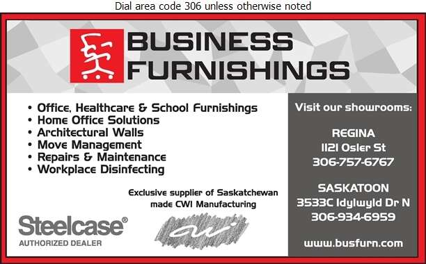 Business Furnishings (Sask) Ltd - Office Furniture & Equipment Digital Ad