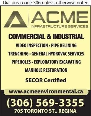 Acme Environmental Services Inc - Sewer Contractors Digital Ad