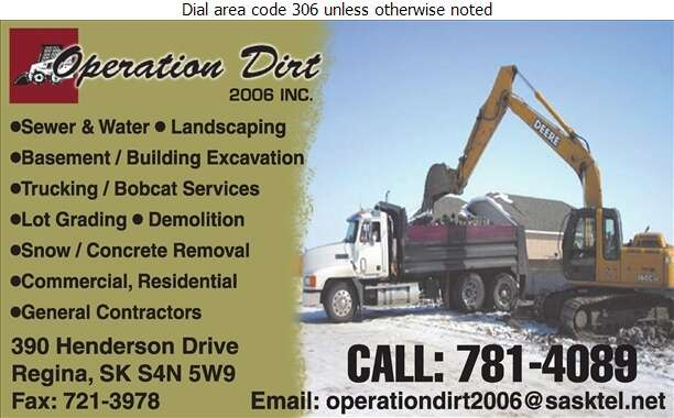 Operation Dirt 2006 Inc - Excavating Contractors Digital Ad