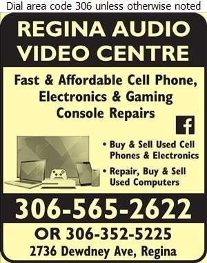 Regina Audio Video Centre - Cellular Telephone Repair Digital Ad