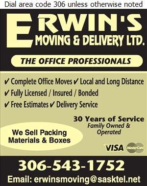 Erwins Moving & Delivery Ltd - Movers Digital Ad