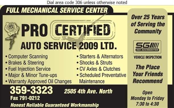 Pro Certified Auto Service 2009 Ltd - Auto Repairing Digital Ad