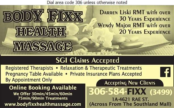 Body Fixx Health Massage - Massage Therapists Digital Ad