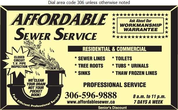 Affordable Sewer Service - Plumbing Contractors Digital Ad
