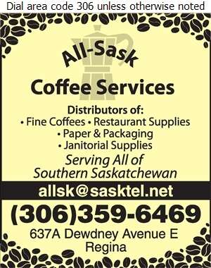 All-Sask Coffee Services - Coffee Break Service & Supplies Digital Ad
