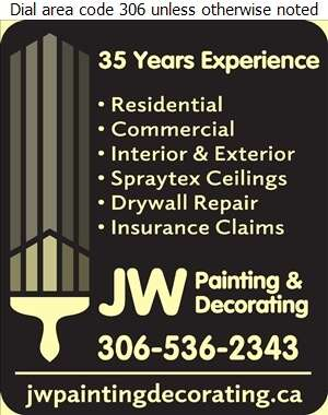 J W Painting & Decorating - Painting Contractors Digital Ad