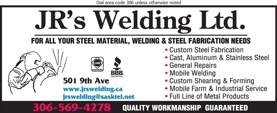 JR's Welding Ltd - Welding Digital Ad