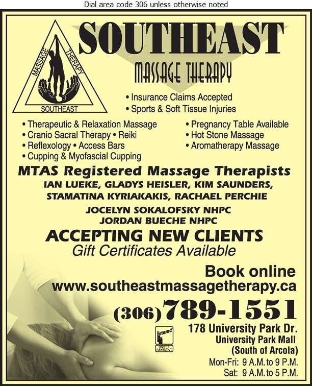 South East Massage Therapy Clinic - Massage Therapists Digital Ad