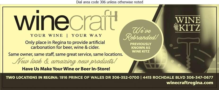 Winecraft Regina - Wine Makers' Equipment & Supplies Digital Ad