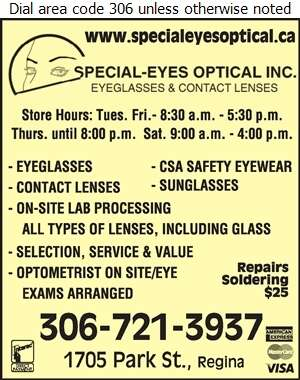 Special-Eyes Optical Inc - Optical Dispensers Digital Ad