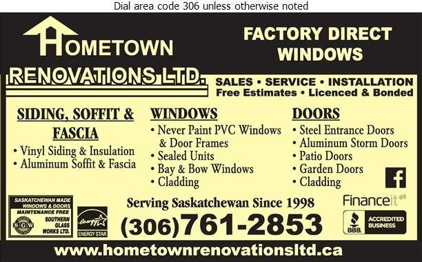 Hometown Renovations Ltd - Siding Digital Ad
