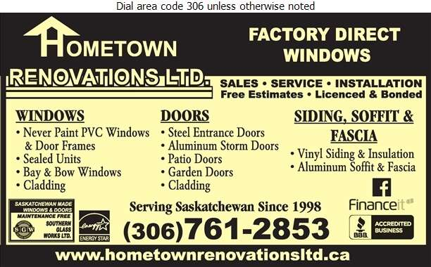 Hometown Renovations Ltd - Windows Digital Ad
