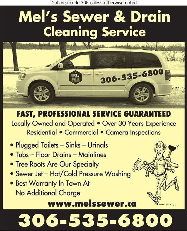 Mel's Sewer & Drain Cleaning Service - Plumbing Contractors Digital Ad