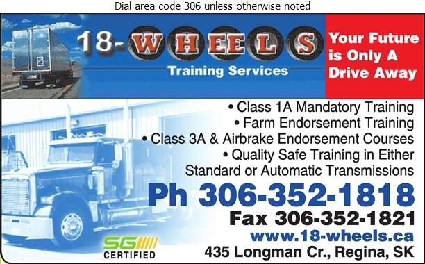 18-Wheels Training Services - Driving Instruction Digital Ad