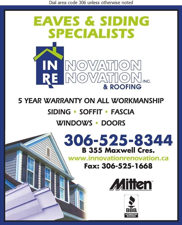 Innovation Renovation & Roofing - Eavestroughing Digital Ad