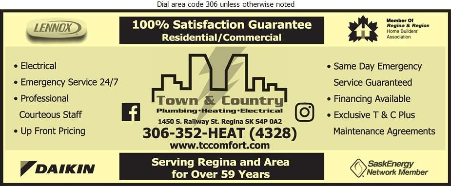 Town & Country Plumbing & Heating (2004) Ltd - Electric Contractors Digital Ad