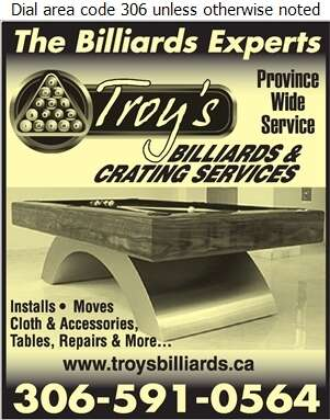 Troy's Billiards & Crating Services - Billiard Equipment & Supplies Digital Ad