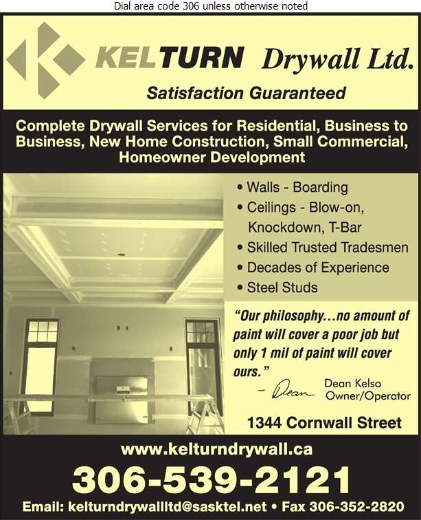Kelturn Drywall Ltd - Drywall Contractors Digital Ad