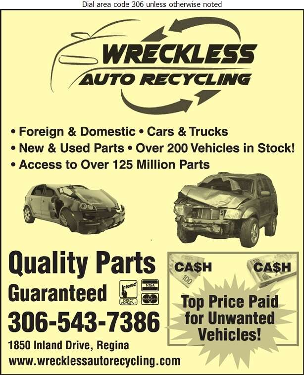 Wreckless Auto Recycling Ltd - Auto Wrecking Digital Ad