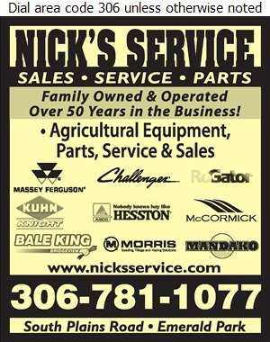Nick's Service - Agricultural Implements Sales, Service & Parts Digital Ad