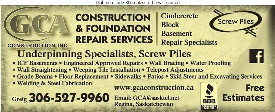 Gca Construction Inc Foundation Contractors Regina Sk