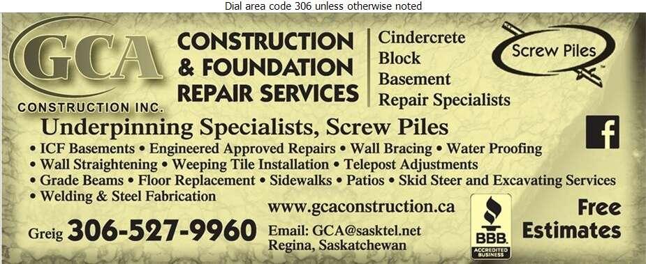 GCA Construction Inc - Foundation Contractors Digital Ad