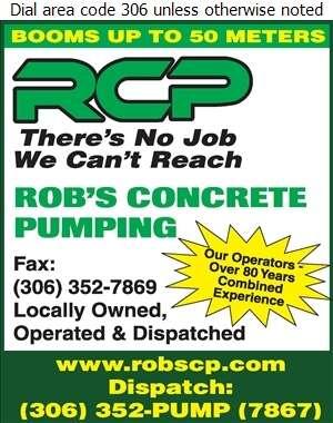 Rob's Concrete Pumping Ltd - Concrete Pumping Service Digital Ad