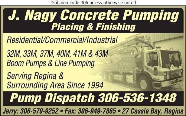 J Nagy Concrete Pumping - Concrete Pumping Service Digital Ad