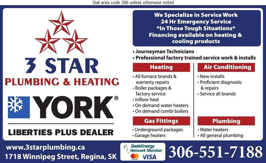 3 Star Plumbing & Heating Inc - Plumbing Contractors Digital Ad