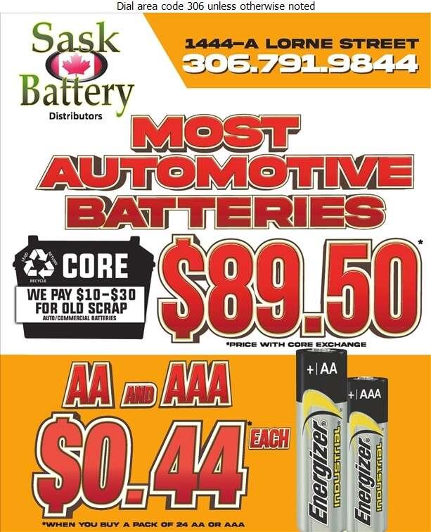 Sask Battery Distributors Inc - Batteries Storage Retail Digital Ad