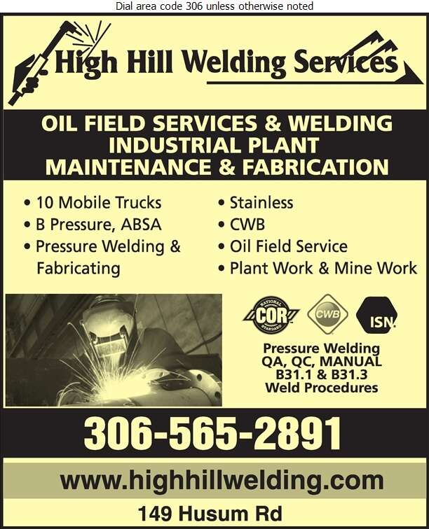 High Hill Welding Services - Welding Digital Ad