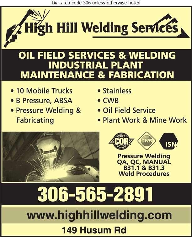 High Hill Welding Services - Welding Digital Ad